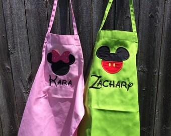 Mickey Mouse Apron, minnie mouse apron, apron, minnie apron, minnie birthday, mickey birthday, minnie mouse gift, mickey mouse birthday gift