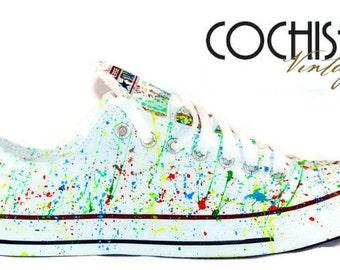 Custom Converse Low Top Splash Chuck Taylors Allstar, Multi Color Chuck Taylors, Painted Chuck Taylors