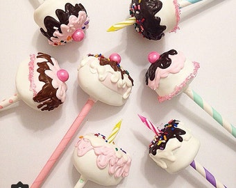 Birthday Candle cakr and slices - Cake Pops set of 20