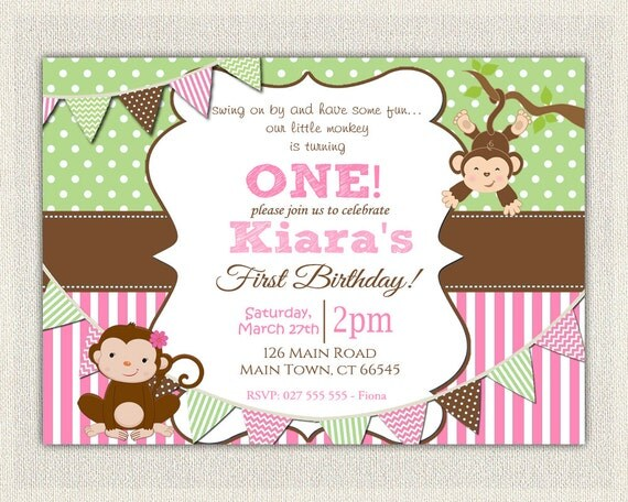 Girls pink and green monkey 1st birthday invitation printable il570xn filmwisefo Image collections