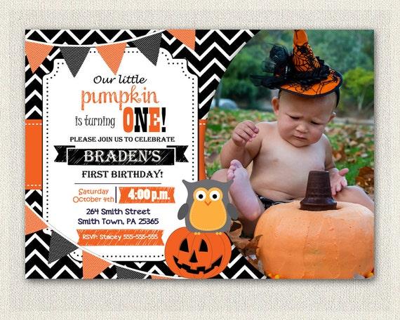 Boys Halloween Pumpkin 1st Birthday Invitation Orange Little