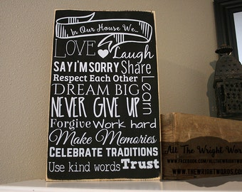 """12x18"""" In Our House Wood Sign"""