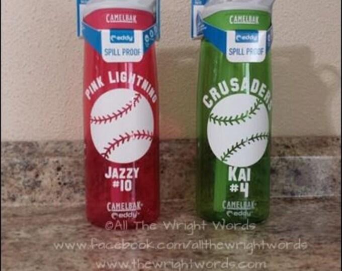 Personalized .75L Camelbak Bottle - Baseball & Name - Can Be Customized - Water Bottle - Hydrate - Custom - Bottle - Hydrate - Bite Valve