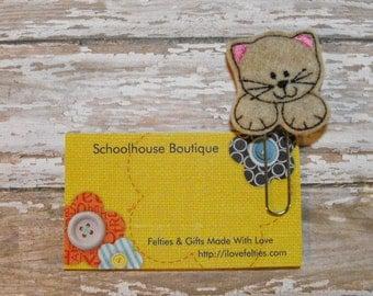 Tan Kitty Cat felt paperclip bookmark, felt bookmark, paperclip bookmark, feltie paperclip, christmas gift, teacher gift