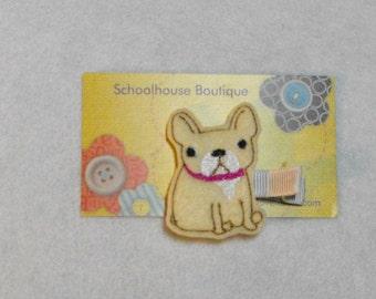 French Bulldog Puppy Dog Felt Hair Clips, Feltie Hair Clip, felt clippie, felt hair bow, felt hair clip, party favor