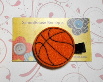 Basketball Felt Hair Clips, Feltie Hair Clip, felt clippie, felt hair bow, felt hair clip, party favor