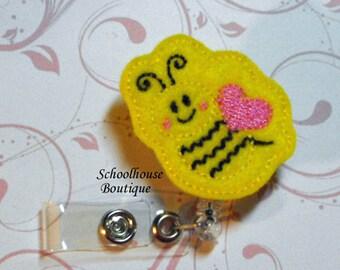 Yellow Honey Bee felt badge reel, name badge holder, nurse badge, ID holder, badge reel, retractable badge clip,feltie badge reel