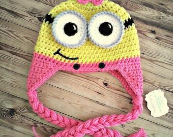 Girl Minion Hat w/ Earflaps & Braids--Pink