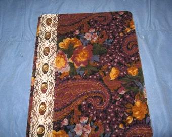 Handmade covered embellished 7.5 x 10 journal / Notebook