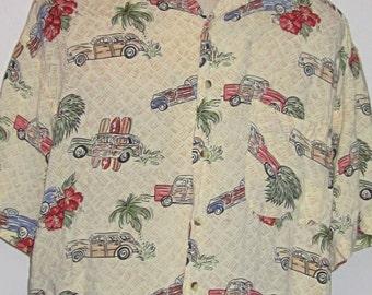 Vintage Hawaiian Print Shirt 90's Tropical Cream, Beige, Green, Maroon and Yellow Print-Short Sleeve-Surf Wagons Long Boards Flowers & Palms