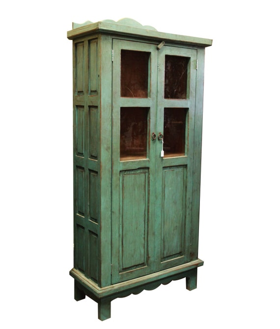 Rustic Linen Cabinet With Glass Doors 81332 By Foxdendecor On Etsy