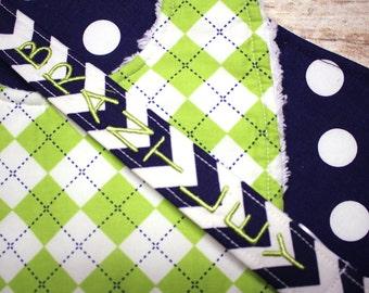 Personalized Boy Gift Set - Riley Blake Navy and Lime Green Chevron, Remix Argyle- Bib, Burp Cloth, Personalized Pacifier Clip