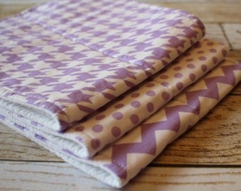 Baby Girl Burp Cloths - Baby Burp Rags - Boutique Quality - Set of three - Lavender Chevron, Houndstooth, Polka Dots - Baby Burp Clothes