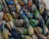 Grey Merino 'Paint Stained Overalls' OOAK colorway 4oz combed top spinning fiber, felting wool, hand dyed roving, black, blue, yellow, green