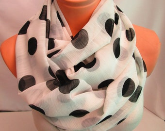 White and Black Polka Dot Infinity Scarf Shawl Circle Scarf,Unique Handmade Scarf, Loop scarf, Women Scarves
