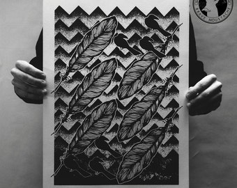 Feather Hills. Artistic print. Hand-printed. Dotwork design. Independent artist.
