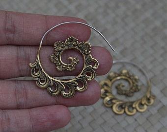 Small Brass Earrings, Brass Spiral Earrings, Brass Hoop Earrings