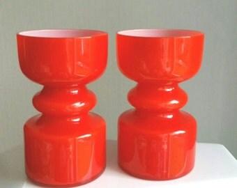 20th Century orange glass vase handmade in Sweden by Lindshammar 60s -70s