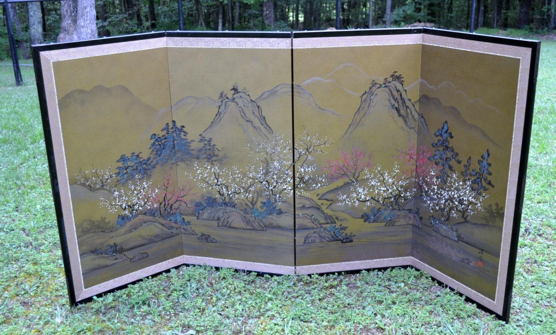 Vintage Asian Silk Folding Screen Room Divider Landscape