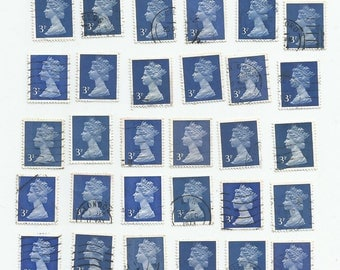 30 Blue Queen Elizabeth II Great Britain Used Postage Stamps (Mix CC)
