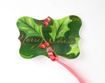 """15 Poinsettia Christmas Gift Tags Handcrafted for the Holiday 2.5"""" x 2"""" with Red Curling Ribbon To and From Stamped at Back    - code 2"""