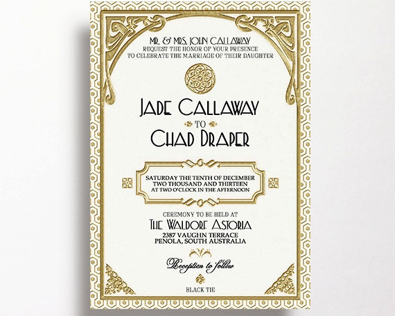Gatsby Wedding Invitation Printable White and Gold Art Deco