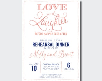 Rehearsal Dinner Invitation   Love and Laughter Before Happily Ever After   Engagement Party Invite