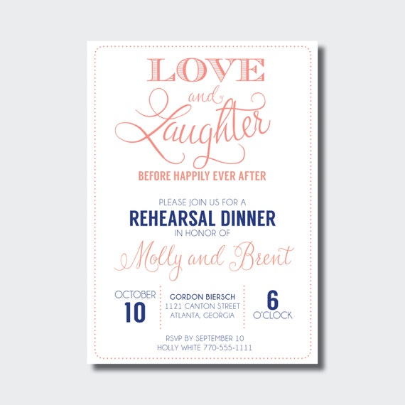 Love And Laughter Rehearsal Dinner Invitation Digital Design: Rehearsal Dinner Invitation Love And Laughter Before Happily