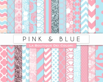 Pink and blue Digital Paper. Digital blue and pink  paper, scrapbook paper patterns, Instant Download for Commercial Use