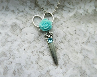 Antiqued Silver Scissor Necklace with Light Blue Rose//Hair Stylist Jewelry//Hairdresser Jewelry//Seamstress Jewelry