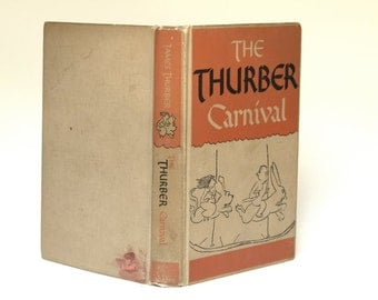 Vintage Books, Humor Books, The Thurber Carnival by James Thurber, Book Collectors, Office Decor, Vintage Hardback Books