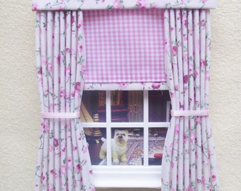 Miniature doll house gingham curtains drapes with pelmet  and blind pink and cream floral
