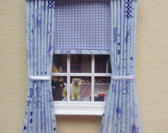 Miniature doll house  curtains drapes with pelmet  and blind blue nursery print with gingham blind 4 3/4 in x 7 1/2in long