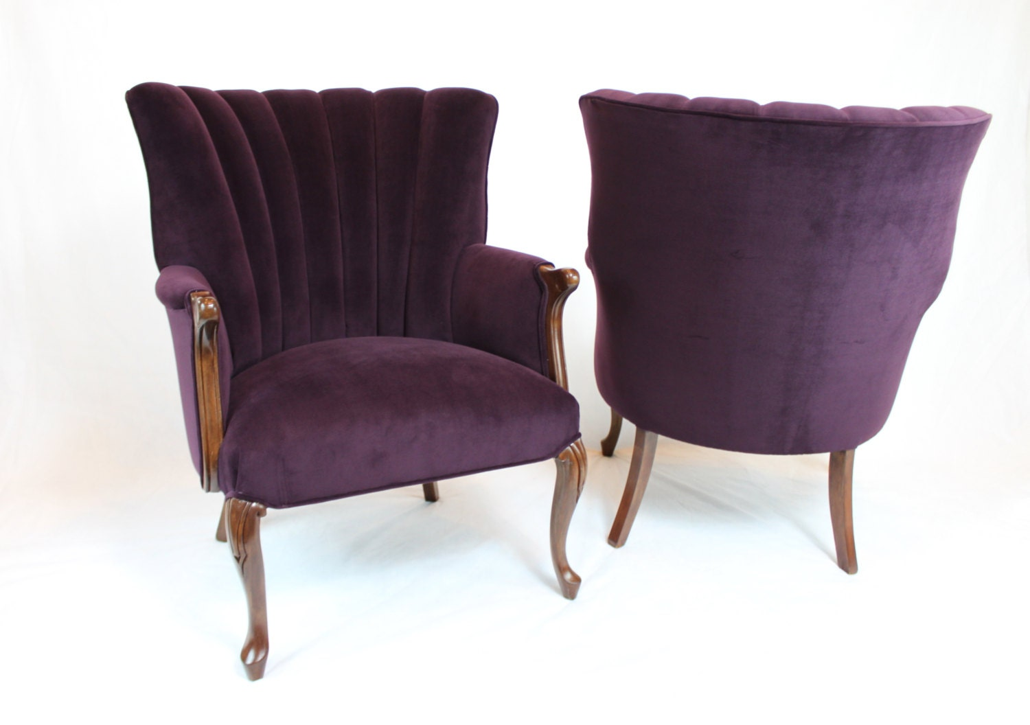 🔎zoom - SOLD Pair Of Vintage / Antique Channel Back Chairs Wing Back