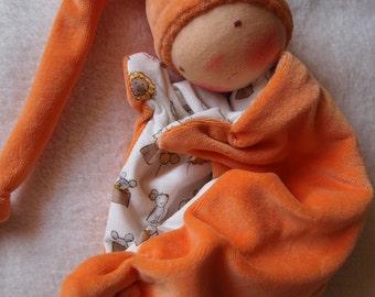 Waldorf doll for babys, sleeping,fluffy, cloth doll, teething doll, baby shower gift