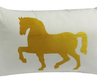 Embroidered Horse Pillow Cover