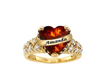 Personalized Birthstone Ring with Heart Stone (NR71353) GPSS