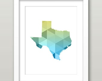Texas Geometric Art, Texas State Geometric Wall Art, Texas Wall Art, Texas Print, Texas Geometric Print