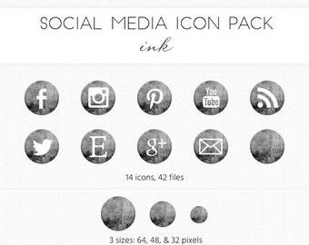 Social Media Icon Set, Ink