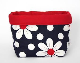 Fabric Storage / Gift Basket - Navy / White / Red Daisy