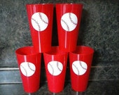 vinyl baseball in your choice of color on a plastic 22.8 oz cup.  Makes great gifts.  Just baseball or on the back no name