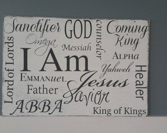 Names of Jesus Christian Scripture Subway Art Typography Hand Painted Wood Sign I Am King of Kings Rustic Distressed