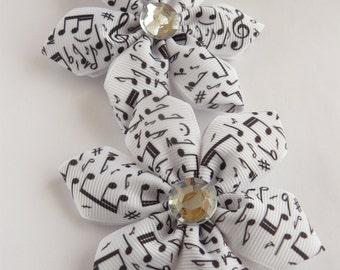 Handmade Kanzashi women ladies girls hair clips bows- buy in UK, shipping worldwide-Kanzashi hair accessories-Musical notes
