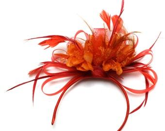 Scarlet Red Hoop & Orange Feathers Fascinator on Headband