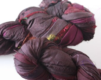 25% OFF SALE -  Recycled Sari Silk Ribbon - Blackberry