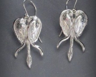 Sterling Silver Bleeding Heart Flower Earrings