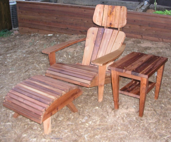 Modern Adirondack Chair Set Chair Headrest Ottoman And Side Table In Stoc