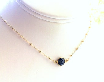 Sapphire Necklace, Sapphire Gold Necklace, Navy necklace, Navy Bridesmaids, Perfect for Layering, Satellite Chain in Gold Filled