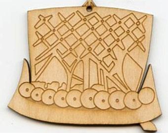 Scandinavian Norwegian Swedish Danish Norse Wooden Baltic Birch Ornament - Viking Ship #EL134