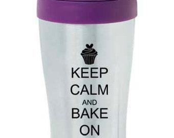 16 oz Stainless Steel Insulated Travel Mug Coffee Tea Cup Keep Calm And Bake On Cupcake - Purple Pink Blue Black Green Red Orange Yellow